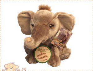 Мягкая игрушка Wiki Zoo Слоник с обучающим чипом в 5 нажатий +мини энциклопедия 7578