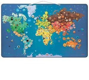 Janоd Карта мира с животными магнитами 201эл J02889