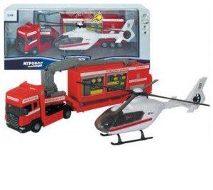 Машинка Scania пожарная база на платформе с вертолетом звук свет 1:48 34209