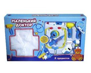 Маленький доктор Набор доктора с халатом 8 предметов в коробке РТ-00165