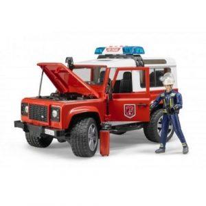 Bruder Внедорожник Land Rover Defender Station Wagon Пожарная с фигуркой 02-596