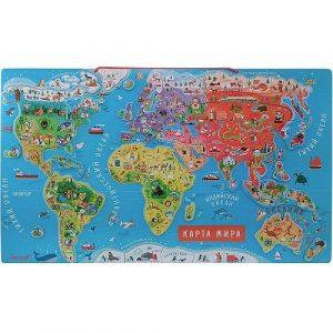 Карта мира с магнитными пазлами 92 эл русс. яз J05483
