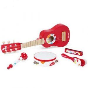 Набор музыкальных инструментов красный (гитара