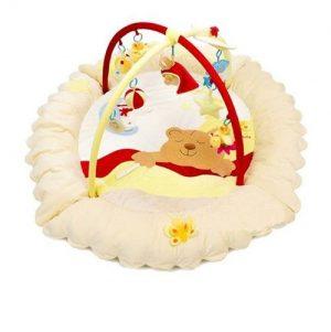Детский игровой коврик бежевый с игрушками Сонный мишка 07FSбеж