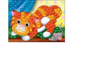 Набор для творчества Рыжий кот Мозаика из помпонов Котенок А5 М-5227 3+