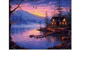 Роспись по холсту Рыжий кот Закат на озере 40х50 см Q1391 3+