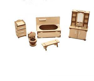 Мебель для куклы дерево Ванная М-004