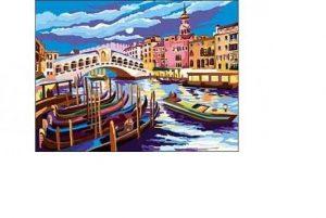 Раскраска по номерам с красками Формат А4 Мост Риальто Венеция Р-5654
