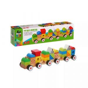 Игрушка дерев конструктор-каталка Чудо поезд Bondibon BOX31