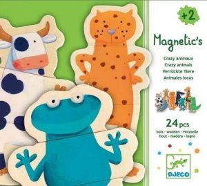 DJECO Детская развивающая магнитная игра Деревянный пазл Забавные животн 03111