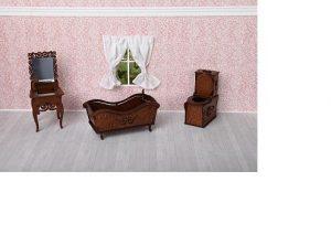 Ванная комната унитаз ванна раковина с зеркалом коричневый 59426