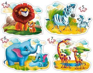 Пазл Castorland Животные 4#5#6#7 деталей В-04454 3+