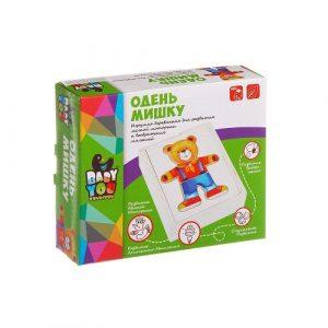 Игровой набор деревянная рамка вкладыш Одень мишку BONDIBON ВВ1104