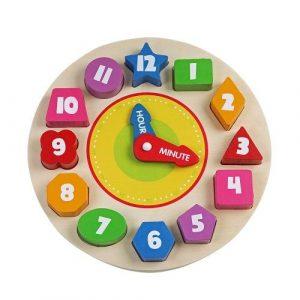 Игрушка деревянная рамка вкладыш Часы BONDIBON 22*22*2