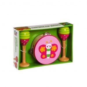 Игрушка набор деревянный Юный Музыкант BONDIBON бубен маракасы 25*17*6 см ВВ1096