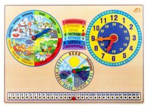 Календарь природы + часы. Планшет 42х30 см УУ-ДИ011