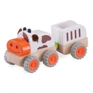 Деревянная игрушка Miniworld Трактор Му Му с прицепом WW-4076