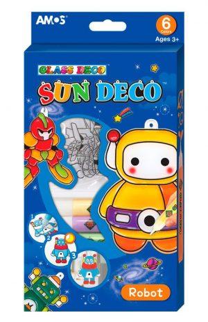 Набор витражных красок Amos с витражами Роботы 6 цветов по 10