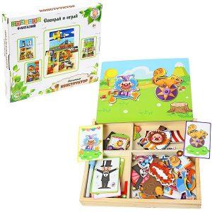 Деревянная игрушка Фабрика Фантазий Магнитная доска с фигурами Собирай и играй в ассортименте 50781