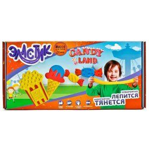 Тянущийся пластилин Эластик Candy land желтый синий красный формочки книжка 360 гр РЕ0422