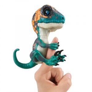 Интерактивный динозавр фури темно зеленый с бежевым 12 см 3783