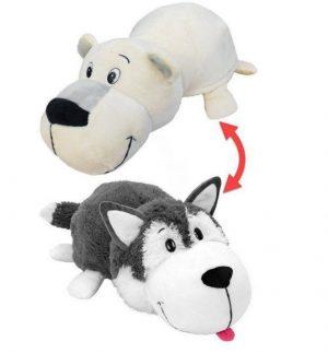 Мягкая игрушка Вывернушка 1Toy Хаски Полярный медведь 2 в 1 20 см Т10925