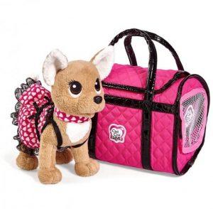 Плюшевая собачка Chi-Chi love Париж 2 в платье светящемся в темноте с сумкой 20 см 5893123