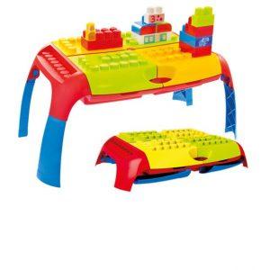 Игровой столик с конструктором Elefantino собирается в компактный чемодан с ручкой 11019