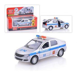 Машина Технопарк Renault Logan Полиция 12см металлическая инерционная LOGAN-P 3+