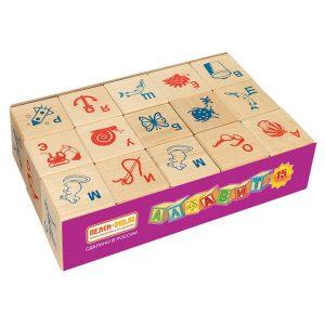 Кубики Алфавит и рисунок 15 шт И675