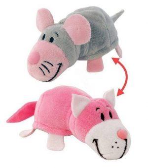 Мягкая игрушка Вывернушка 1Toy Розовый кот мышка 2 в 1 12 см Т10919