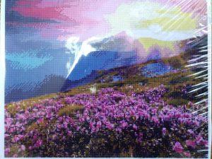 Алмазная мозаика Schreiber Рассвет в горах 40х50 на подрамнике круглые непрозрачные стразы S-3909