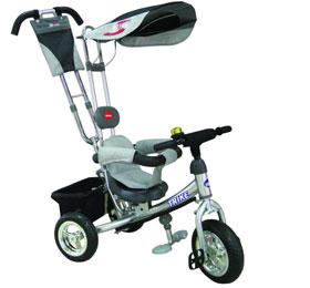Велосипед 3-х колесн колеса 12 и 10 хромир Ручка управлен серебристый