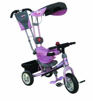 Велосипед 3-х колесный колеса 12 и 10 хромир Ручка управлен розовый