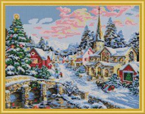 Алмазная мозаика Рыжий кот Зимний город 24 цвета 40х50см с подрамником классическая AC4003