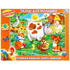 Пазл для детей в рамке Умка Домашние животные 6 деталей 0+