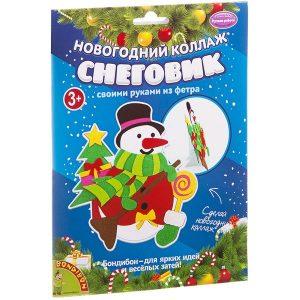 Набор для творчества BONDIBON Новогодний коллаж Снеговик ВВ1874