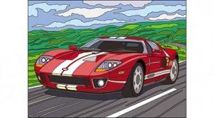 Раскраска по номерам с красками Формат А4 Автомобиль Р-5645