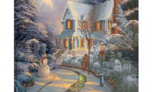 Алмазная мозаика Рыжий кот Зимний домик 27 цветов 30х40см без подрамника блест ASG003