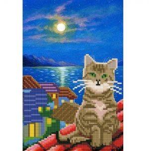 Алмазная мозаика Рыжий кот Котик на крыше 31 цвет 20х30см без подрамника классическая ACF007