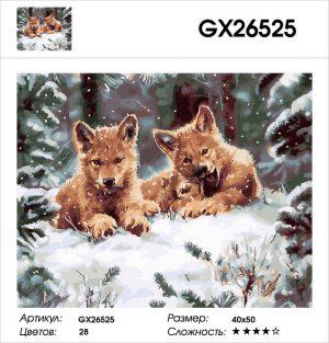 Картина по номерам Волчата 40х50см GX26525