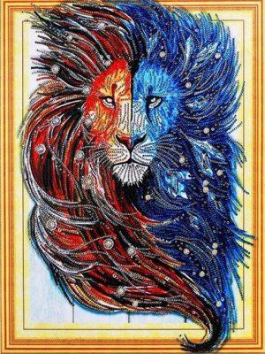Алмазная мозаика 5D круглая Цветной лев 40х50см LP002