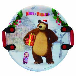 Ледянка круглая с плотными ручками 1TOY Маша и Медведь 54 см Т13885