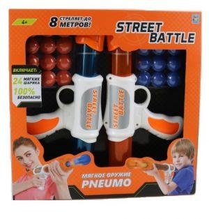 Игрушка оружие 1toy Street Battle с мягкими шариками 2 пистолета 24 шара Т13651