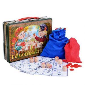 Настольная игра Десятое королевство Русское лото Посиделки жестяной чемоданчик 01746 3+