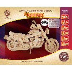 Конструктор деревянный Мотоцикл Харлей Дэвидсон Чоппер Р019а